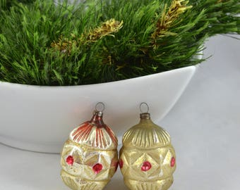 Antique Glass Christmas Ornaments, Delicate Vintage Glass Silver And Red Ornament