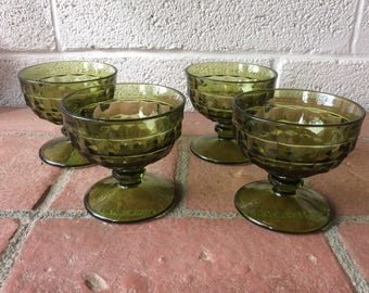 "Set of 4 Indiana Whitehall Avacado Green "" Cubist"" Footed Sherbet/ Dessert Dishes"