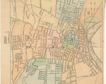 Vintage street map etsy hartford ct old street map 1897 12 x 20 from sciox Images