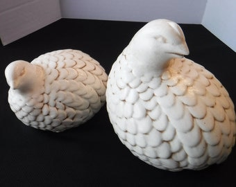 Large Quails Figurines, Bird Statues, White Birds, Ceramic Partridges, Home Decor, Bird Decor, Bird Figurines,Bird Paperweight,Vintage Birds