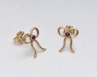 Gold Stud Earrings, 2mm Ruby stud earrings, Ruby post earring, Cartilage earring, 20 gauge helix earring stud, Cartilage piercing