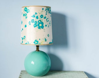 Vintage Mod 60's Lamp & Lampshade - Desk Table Lamp - Round Sphere Turquoise Blue Green Retro Lamp Lampshade - Electric Light Lamp Flowers