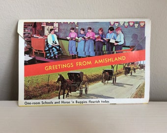 Vintage Amishland Postcard Folder Amish Country Penna Dutch Country Pennsylvania Dutch Souvenir Post Card Unused, Mel Horst Photography 1968