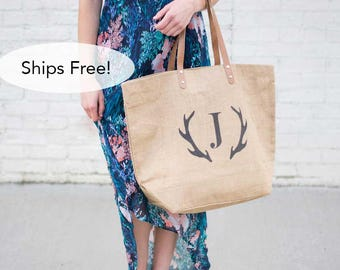 Monogrammed Tote Bag with Deer Antler Monogram Gift for Her-Gifts for Women-Antlers Bag-Personalized Tote-Personalized Gift for Teen Girls