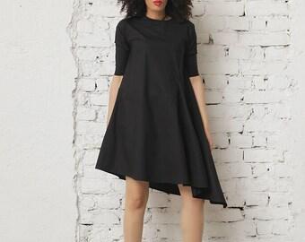 Women Black Dress, Summer Dress, Black Asymmetric Dress, Short Sleeved Dress, Casual Black Dress, Office Dress, Wide Dress, Ladies Dress