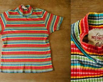 Vintage 70s Fiorlini International Rainbow Horizontal Stripe Mock Neck Short Sleeve Top