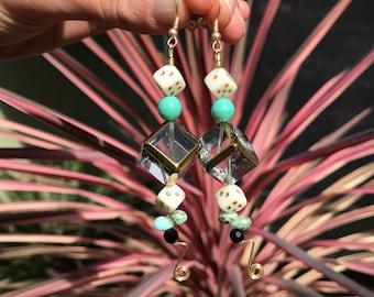Las Vegas Dangle Earrings // Casino Gambling Turquoise Earrings // Lucky 7 Earrings // Dice Dangle Earrings // Metalwork and Bead Earrings