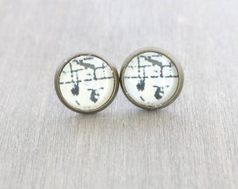 Music Note Bronze Studs, Bronze Earring Studs, Black and White Earrings, Boho Studs, Rustic Studs, Gift for Her, Music Earrings