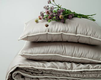 Gray bedroom comforters set. Bedding set of king comforter and king size pillows. Master bedroom gray comforter set. Rustic bed comforter