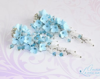Light Blue Earrings Blue long earrings White Blue Earring Blue Flower Jewelry Girlfriend gift Blue bridesmaid earrings Blue Flower earrings