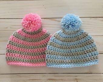 Newborn Twin hats, Newborn Twin Beanie, baby pompom hat, newborn twin crochet hat