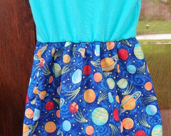Space~Planets Dress~size 5T~other sizes available upon request