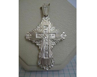 SOLID 925 Sterling Silver Big Detailed Cross Pendant Jesus Christ Crucifix Cyrillic Russian Inscription Спаси и сохрани God bless me Lily