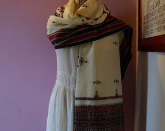 Oversized embroidered wool shawl