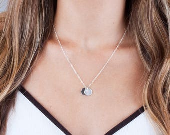 2 Disc Necklace, Disk Necklace, Silver Disc Necklace, Initial Tag Necklace, Silver Initial Choker, Personalized Necklace, Custom Necklace