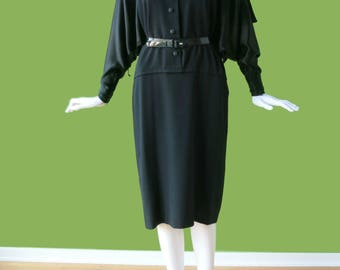 GALANOS Vintage Batwing Wool & Silk Dress with Cape - Stunning!!