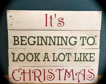 """Rustic Reclaimed Wood Sign - """"It's beginning to look a lot like Christmas"""", 16x16"""