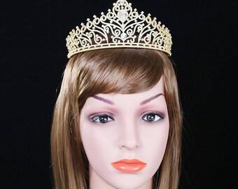Gold Bridal Crown Gold Wedding Tiara Crystal Bridal Tiara Diamante Tiara Swarovski  Wedding Tiara Crystal Gold Tiara