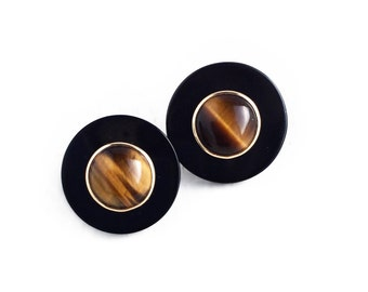 Vintage 14k Yellow Gold Tiger Eye & Black Onyx Circle Stud Earrings