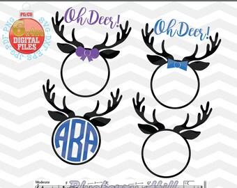 Reindeer Monogram Svg - Reindeer Cut Files - christmas reindeer SVG - Reindeer Svg - Christmas SVG - Xmas svg - Cutting File - Deer Svg