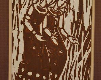 Vintage Linoleum Cut Print, Woodblock Print, Brown Ink, Linocut Women, Two Figures