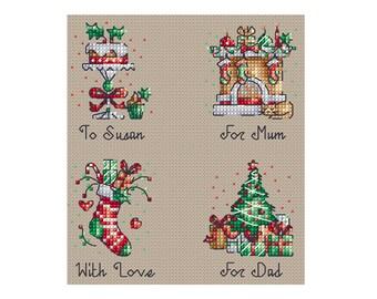 Personalised Christmas Gift Tags - Set of 4 - Durene J Cross Stitch - DJXS2238