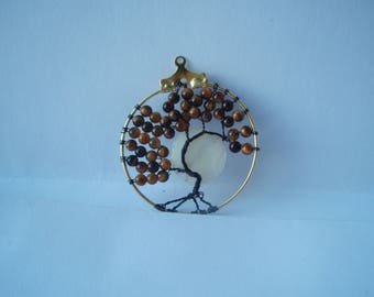 Brown tiger's eye beads with moon Tree of Life Pendant