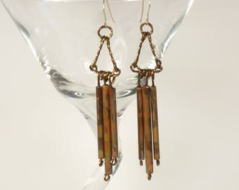 Handmade Sterling silver and copper dangle earrings, sterling silver mixed metal earrings, copper drop earrings