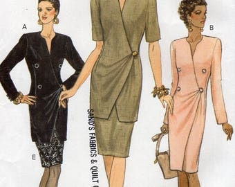 Free Us Ship Sewing Pattern Vogue 8978 Retro 1990s 90's Wrap Double Breasted Dress Top Skirt Uncut Size 8 10 12 Bust 31.5 32.5 34 Uncut