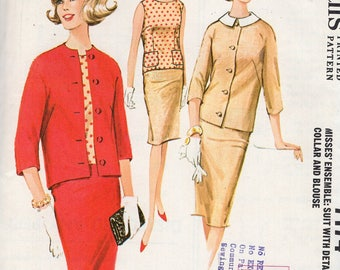 McCall's 7174 Free Us Ship Sewing Pattern Vintage Retro 1960s 60s Uncut Jackie Suit Jacket Pencil Skirt Blouse Pockets Size 10 Bust 31
