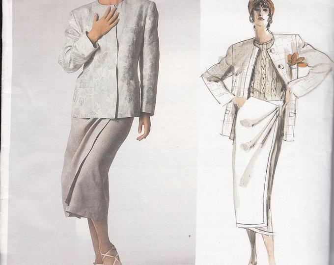 FREE US SHIP Vogue 1671 Designer Calvin Klein Sewing Pattern Uncut Size 12 Bust 34 Suit Jacket Skirt Wrap Draped