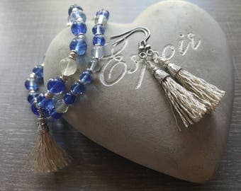 All quartz gemstones bracelets and earrings tassels
