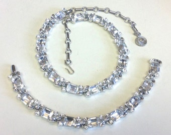 50s Silver Rhinestone Choker Necklace & Bracelet   Lisner