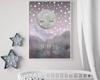 Midnight Moon - Dream Big Little One - Moon Stars - Nursery Print - Baby Nursery - Wall Art - Kids Room - Available in Pink/Purples or Blues