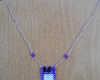 Necklace, long purple floppy and transparent purple beads