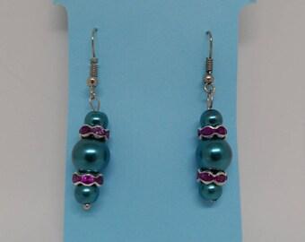 Pearl and rhinestone earrings