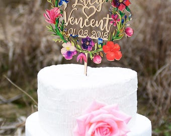Personalized Wedding Cake Topper, Custom Caketopper with First Names and Date, Wood Cake Topper Printed with Colorful Floral Wreath VU004