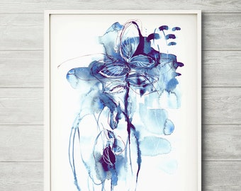 Abstract painting, abstract print, acrylic abstract, blue abstract painting, indigo abstract art, acrylic abstract art, blue watercolor