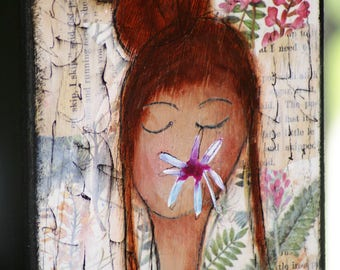 Mixed Media Painting, Original Art, Wall Art, Abstract Art, Girl Art, Angel Art, Flowers Art Wood Canvas