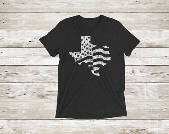 Distressed American Flag Texas Short Sleeve T-Shirt/Texas Shirt/Women's Clothing/4th of July/Independence Day/American Flag