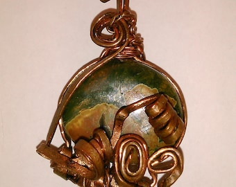 Rhyolite pendant, Wire wrapped pendant, Copper wire pendant, Handmade item, Rhyolite stone