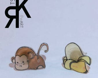 Monkey and Banana Shrink Plastic Earrings