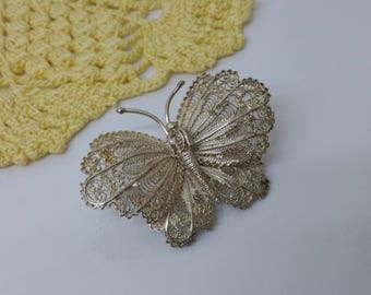 Brooch silver 835 Butterfly filigree crafted old shabby vintage SB251
