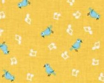 Penny Rose Fabrics; Shabby Strawberry Birds in Yellow; 1/2 yard; woven cotton fabric
