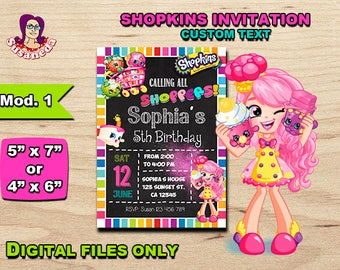 "SHOPKINS personalized invitation 5""x 7"" or 4""x 6"", Shopkins Birthday Invitation, Digital Birthday Invitation High Quality, Ready to Print"