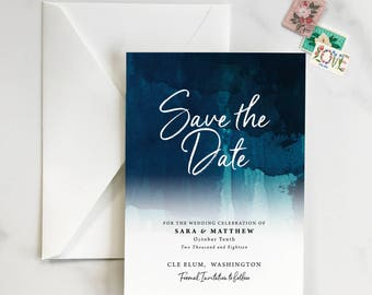 Watercolor Hombre Save the Date, Bold, Vibrant Save the Date, Colorful Save the Date, Deep blue, purple, green save the date - DEPOSIT