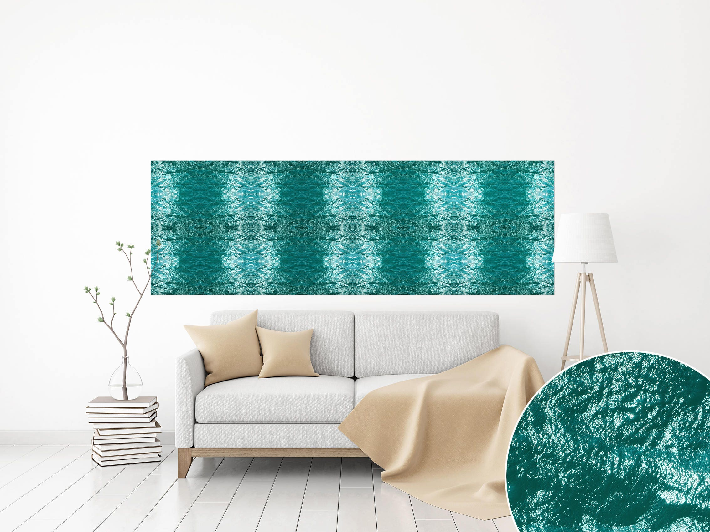 Canvas print panoramic horizontal teal water sea photo wall art canvas print panoramic horizontal teal water sea photo wall art abstract wall art sea ocean art large sea oversized water pattern art poster sciox Images