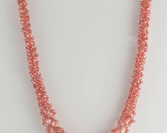 Pink Faceted Beaded Woven Necklace