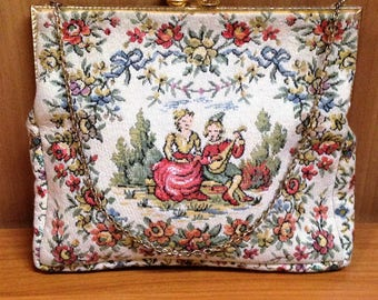 French Petit Point Tapestry Purse Handbag, Rose Motif Tapestry Purse, Gold Trim Tapestry Handbag, Courting Couple Petite Point Evening Bag