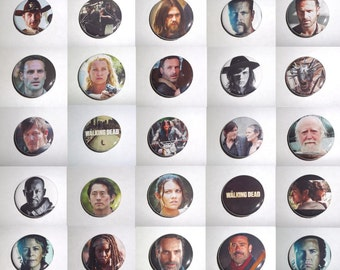 "Walking Dead 1.25"" and 2.25"" Pinback Buttons, Choose From 60 Styles, Rick, Daryl, Michonne, Carol, Carl, Negan, Jesus, Zombies and more"